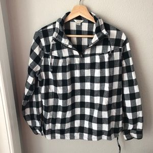 Quarter zip flannel with pockets